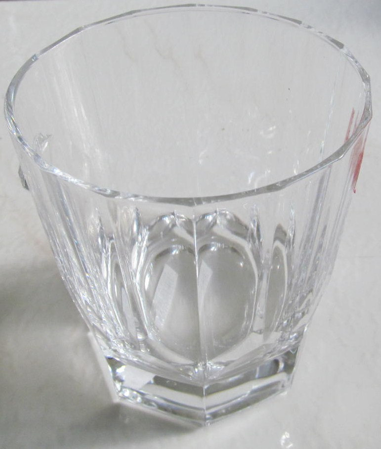 Cris D'Arques Vintage Antique Clear Short Solid Crystal Glass Tumbler with Pyram