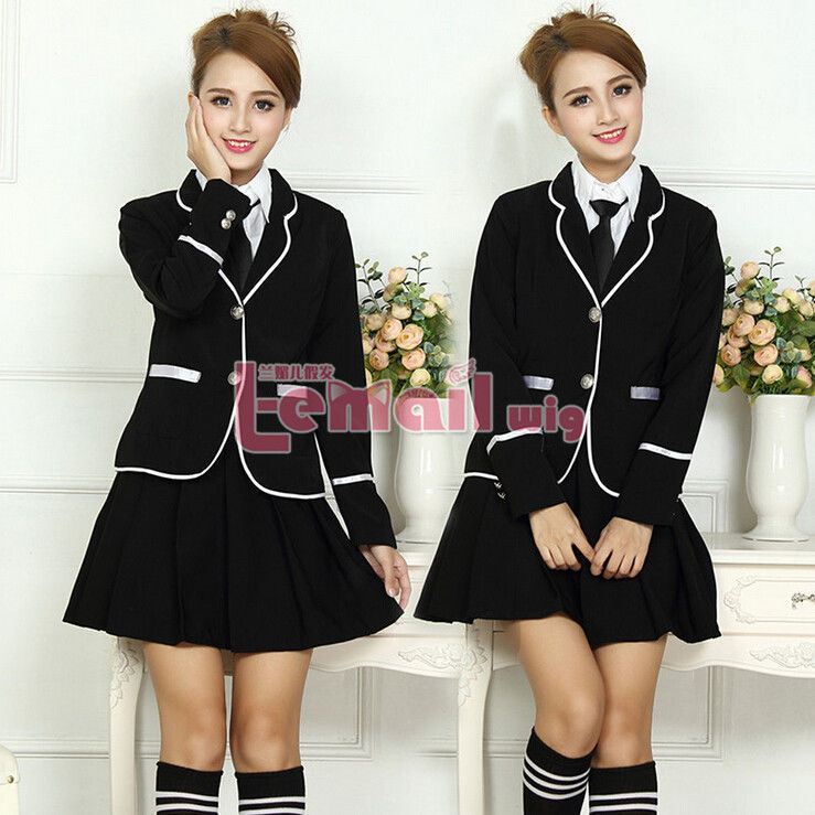 Primary image for Girl's Student School Uniform Coat Shirt Pleated Skirt Outfit Cosplay Costu