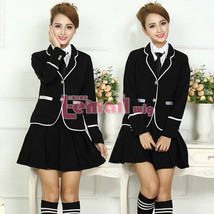 Girl's Student School Uniform Coat Shirt Pleated Skirt Outfit Cosplay Costu - $41.99