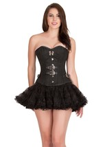 Black Brocade Leather Gothic Steampunk Basque Tutu Skirt Overbust Corset Dress - $78.57