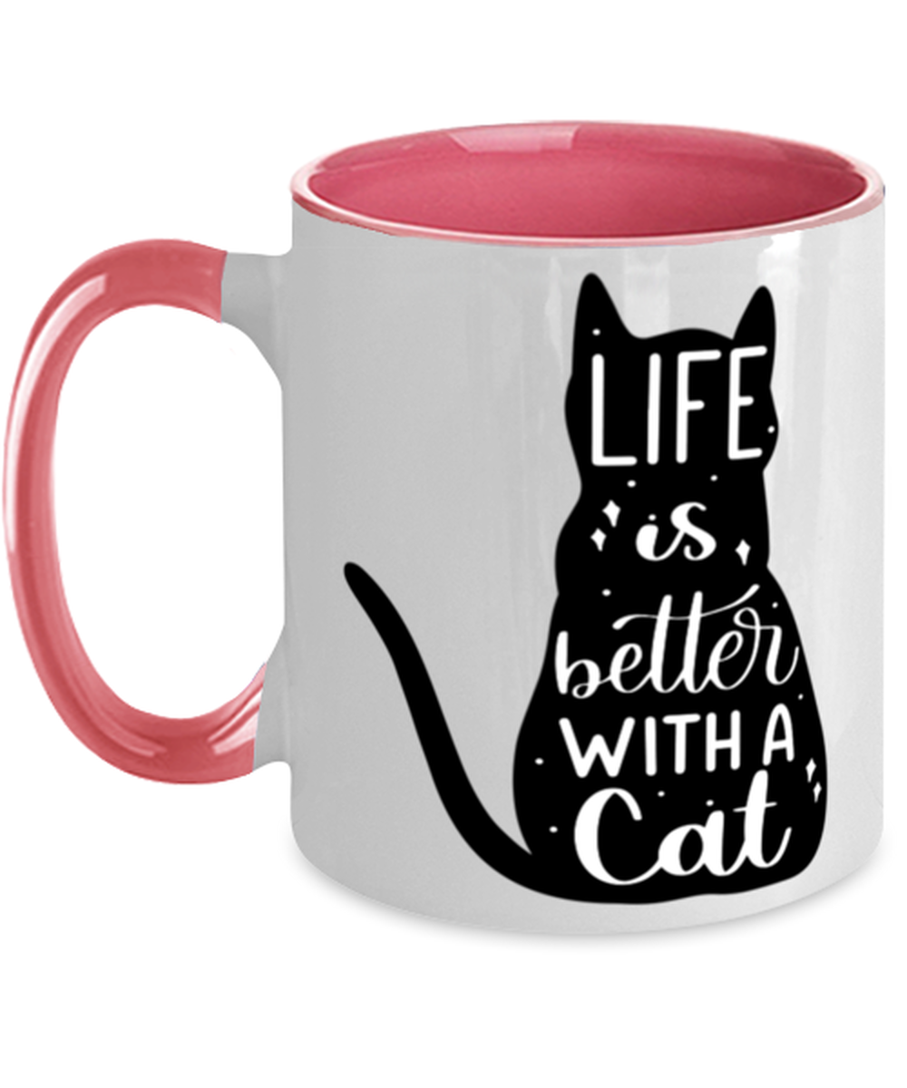 Cat Coffee Mug Two Tone, Life Is Better With A Cat, Unique Gift For Men and  - £16.64 GBP