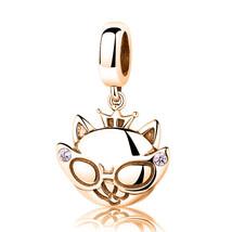 9ct Yellow GOLD Handmade DIVA CAT CZ Charm Fits EUROPEAN BRACELETS Bead - $145.53