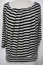 Vanessa Virginia Anthropologie Sz M Nautical Stripe Knit Top Pintucked F... - $24.99