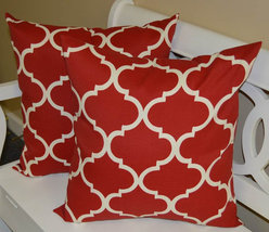 """Set of 2 - Indoor / Outdoor 24"""" Red and White Geometric Quatrefoil Throw... - £50.02 GBP"""