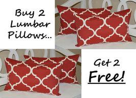 Set of 2 Indoor / Outdoor Red Geometric Quatref... - $49.96