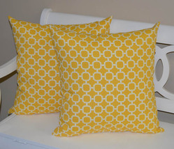 """Set of 2 - Indoor / Outdoor 22"""" Yellow White Geometric Hockley Throw Pil... - £42.87 GBP"""