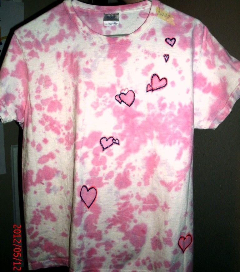 Large pink dalmation style t shirt rhinestone embelished for Types of tie dye shirts