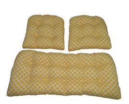 3 Piece Set - In / Outdoor Wicker Loveseat & Chair Cushions - Yellow Hoc... - £71.49 GBP