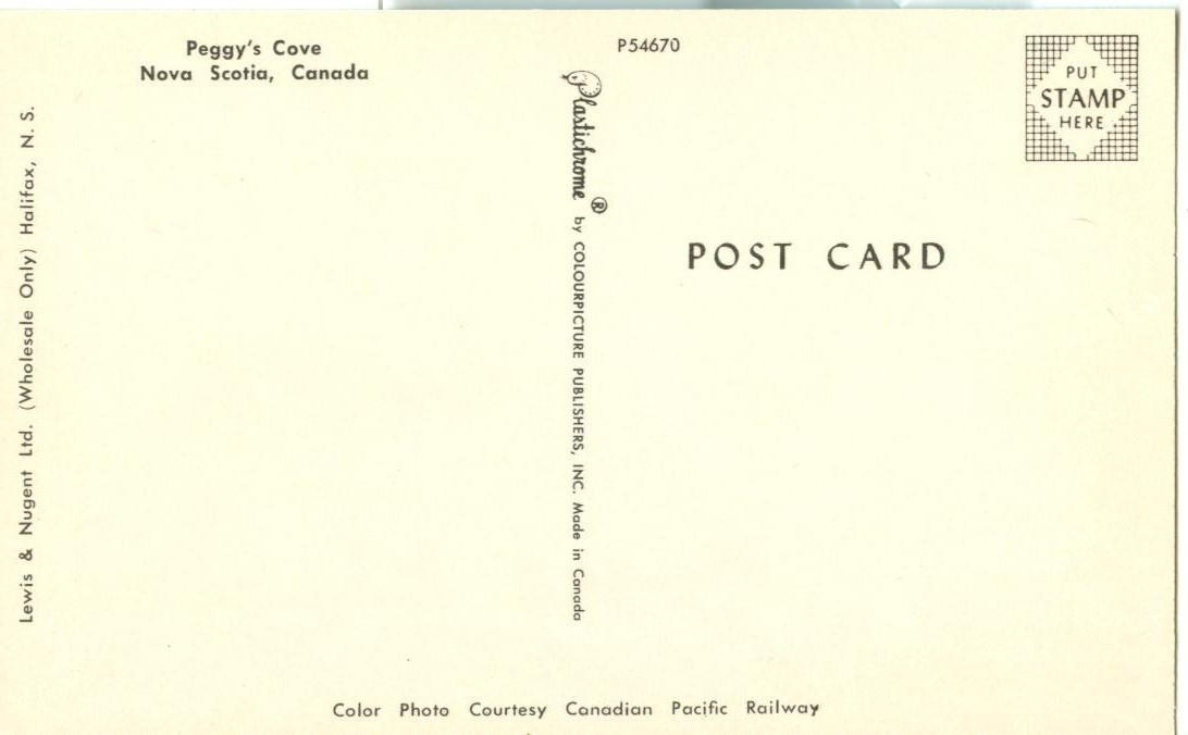 Canada,  Peggy's Cove, Nova Scotia, unused Postcard