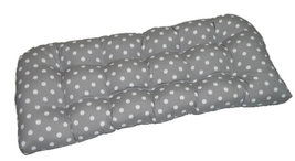 Indoor / Outdoor Tufted Wicker Loveseat Cushion - Gray White Ikat Polka Dot - €40,82 EUR
