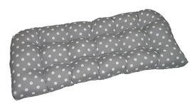 Indoor / Outdoor Tufted Wicker Loveseat Cushion - Gray White Ikat Polka Dot - £35.72 GBP