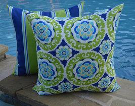"Set of 2 - Indoor / Outdoor 22"" Blue Green Bohemian & Stripe Throw Pillows - £42.87 GBP"