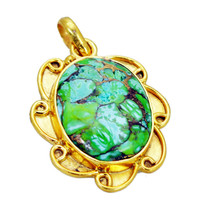 handsome Turquoise Gold Plated Multi Pendant Natural jewelry US gift - $12.86