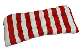 Indoor / Outdoor Tufted Wicker Loveseat Cushion - Red and White Stripe - £35.72 GBP