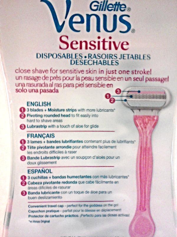 New Gillette Venus Sensitive Disposable Razors 3 Blades Gentle Smoothness 3 Pack