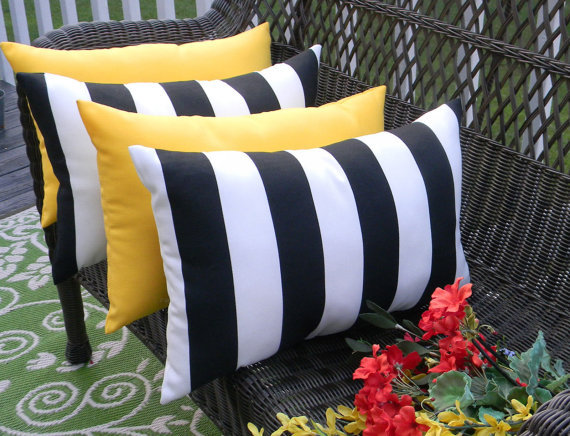 Black And White Stripe Outdoor Throw Pillows : Set of 4 - In / Outdoor Lumbar Throw Pillows - Solid Yellow & Black White Stripe - Pillows