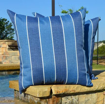 "Set of 2 - Indoor / Outdoor 24"" Denim Blue Ivory Stripe Decorative Throw... - $69.96"