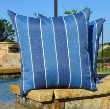 "Set of 2 - Indoor / Outdoor 24"" Denim Blue Ivory Stripe Decorative Throw... - £50.02 GBP"
