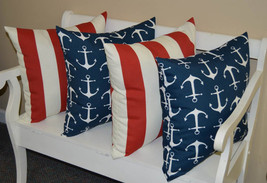 "Set of 4 In / Outdoor 20"" Red White Stripe & Navy w/ White Anchors Throw... - €57,16 EUR"