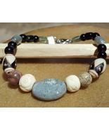 Jasper, Bone and Ceramic Bracelet with Sterling... - $25.00