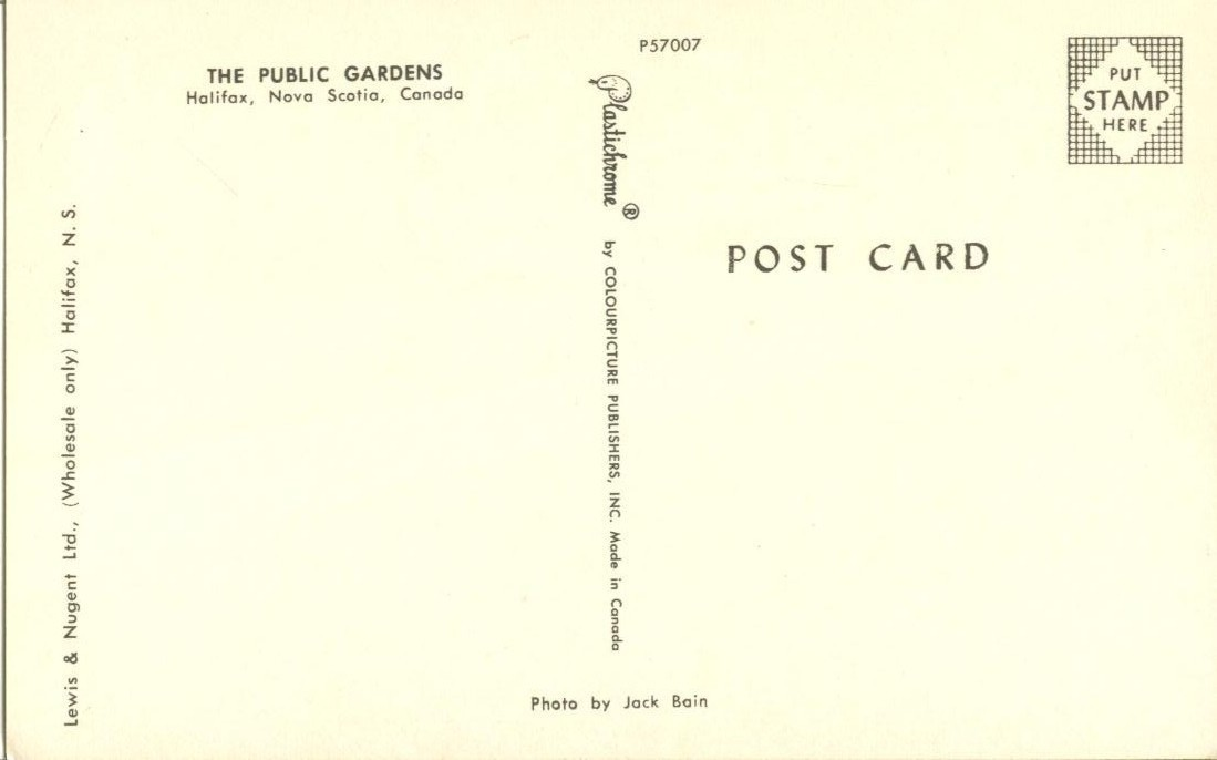 Canada, The Public Gardens, Halifax, Nova Scotia, unused Postcard