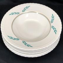 """5 Coronation Hanover China Rim Soup Bowls 1950s 8"""" Dia Green Leaf Gold Dots - $34.64"""