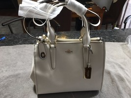 Coach 33995 Crossbody Carryall  Chaulk Crossgrain Leather Handbag - $210.20