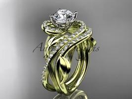 14kt yellow gold diamond leaf and vine wedding set, engagement set ADLR222S - $2,645.00