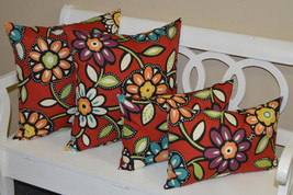 """Set of 4 - Indoor / Outdoor 20"""" Square & Lumbar Red Wilder Floral Throw ... - £42.87 GBP"""