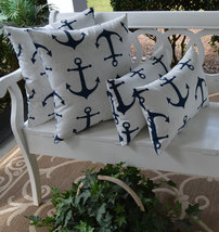 """Qty 4 In / Outdoor 20"""" Square & Lumbar White w/ Navy Blue Anchors Throw ... - £42.87 GBP"""