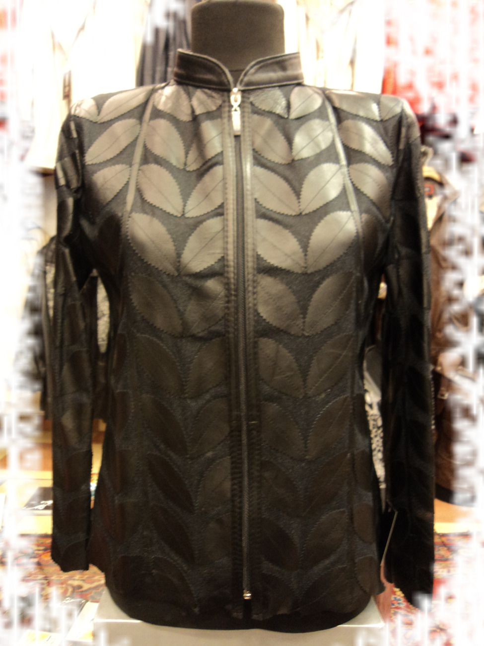 Womens Black Leather Leaf Jacket : All Regular Sizes Handmade Real Soft Lambskin