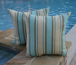 "Set of 2 - In / Outdoor 20"" Aqua Brown Tan Stripe Decorative Throw Pillows - £35.72 GBP"