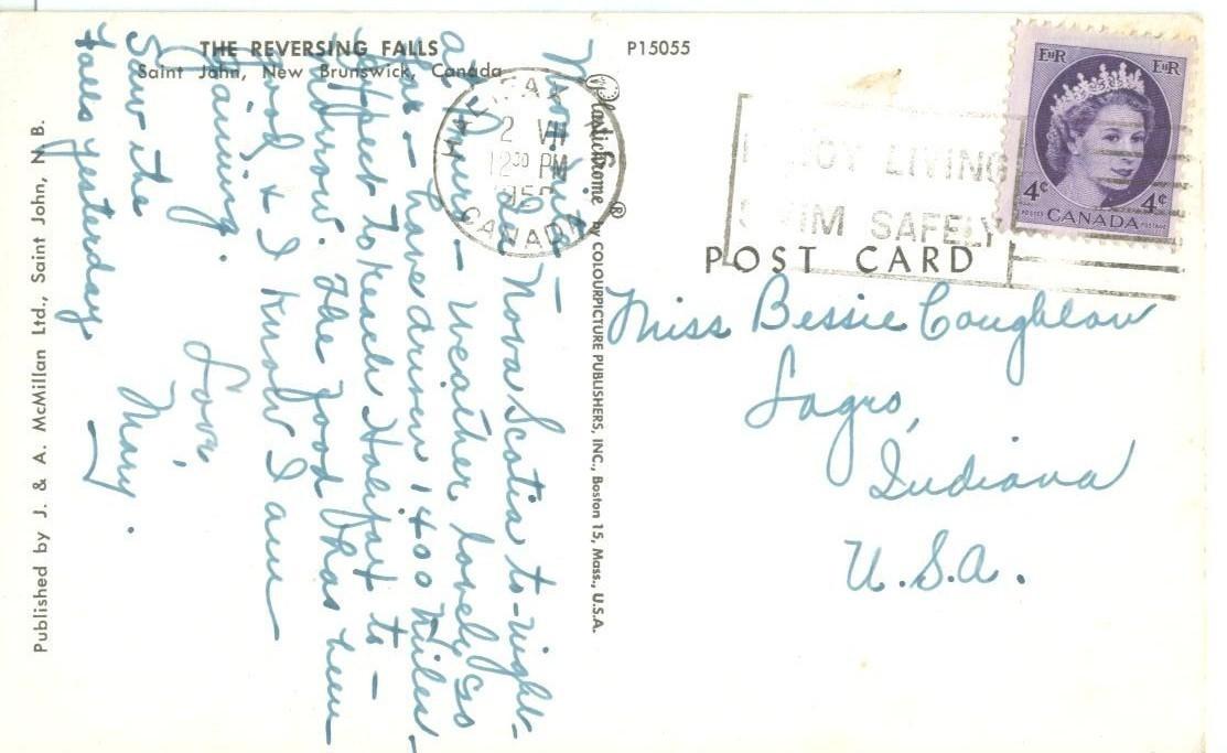 Canada, The Reversing Falls, Saint John, New Brunswick, 1950s used Postcard