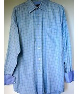 Ted Baker Shirt 16 34/35 Blue Green Plaid Flip Cuffs Button Down 100% Co... - $39.99