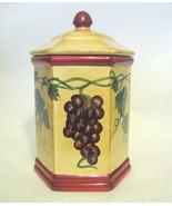 Ceramic Bisquit Jar Fruit Motif Signed Nonni Ma... - $54.44