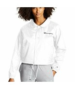 New Champion Women's Cropped Coaches Jacket with Embroidered Logo White ... - $44.54