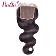 "RUIYU Hair Brazilian Body Wave Hair Lace Closure 4""X4"" Non Remy Bleached... - $80.80"