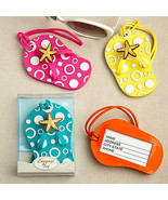 1 Yellow, 1 Orange, 2 Pink, 2 Blue Beach Sandal Flip Flop Luggage Tag Fa... - $18.27