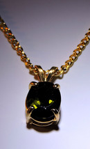 Gorgeous Faceted Green Tourmaline 14k Gold Plated Pendant  Necklace - $75.00