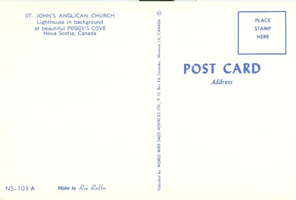 Canada, St. John's Anglican Church, Peggy's Cove, Nova Scotia, unused Postcard