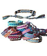 Tangser Nepal Woven Friendship Bracelets with a Sliding Knot Closure for... - £12.44 GBP