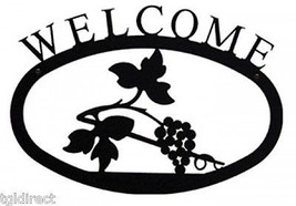 Wrought Iron Welcome Sign Grapevine Silhouette Large Outdoor Plaque Home... - $46.99