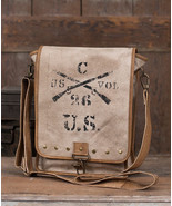 US.Army Messenger Canvas & Leather Shoulder Bag Stenciled Crossed Rifles... - $59.95