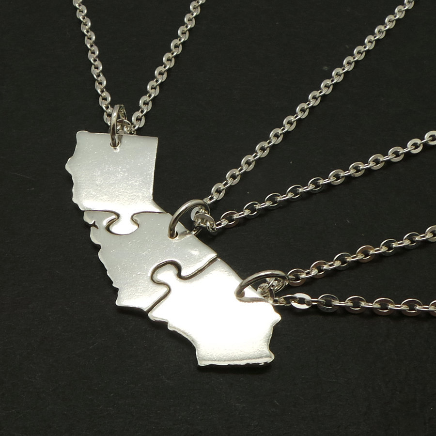 Set of 3 Jigsaw Puzzle California State 3 Best Friends 925 Silver Necklaces image 2