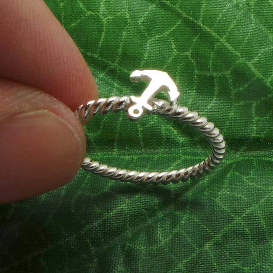 Small Nautical Ship Sailor Anchor 925 Sterling Silver Stacking Ring