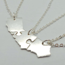 Set of 3 Jigsaw Puzzle California State 3 Best Friends 925 Silver Necklaces image 3