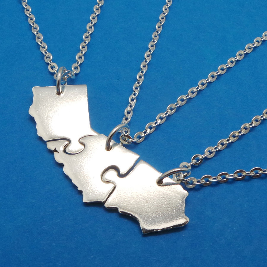Set of 3 Jigsaw Puzzle California State 3 Best Friends 925 Silver Necklaces