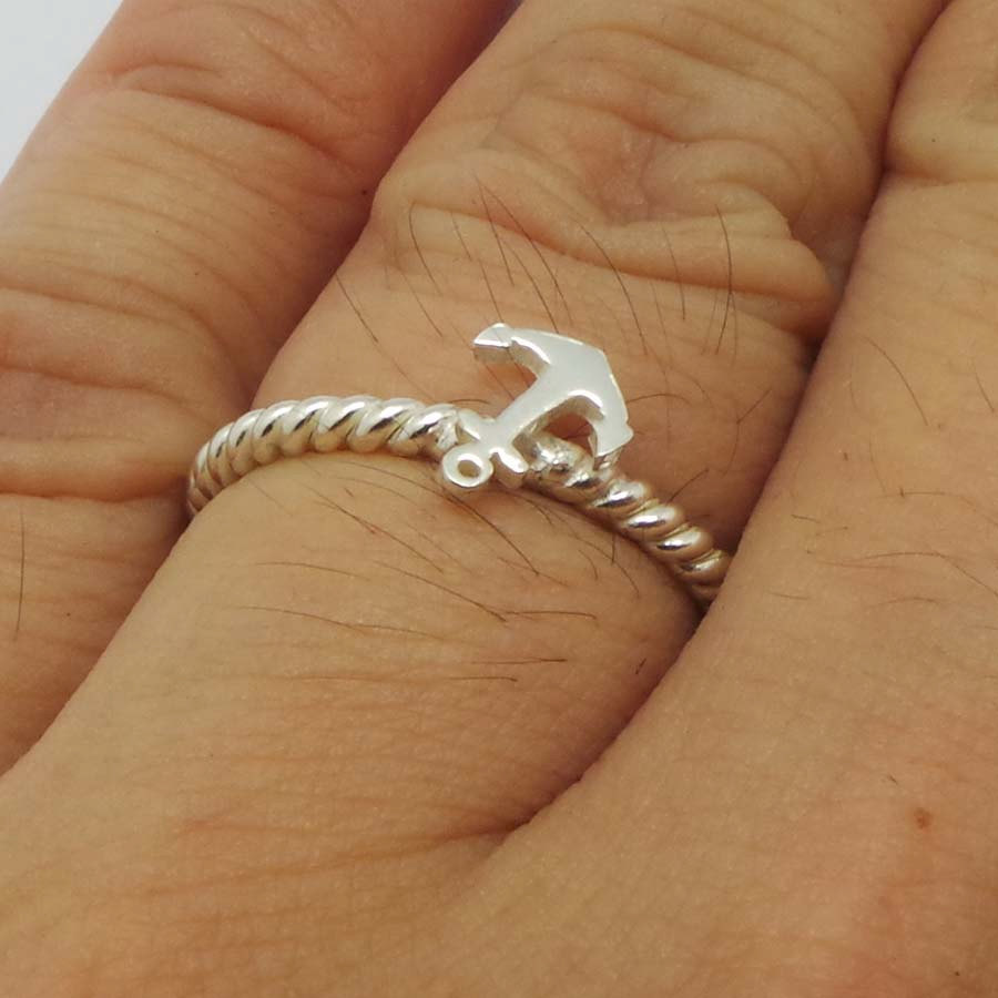 Small Nautical Ship Sailor Anchor 925 Sterling Silver Stacking Ring