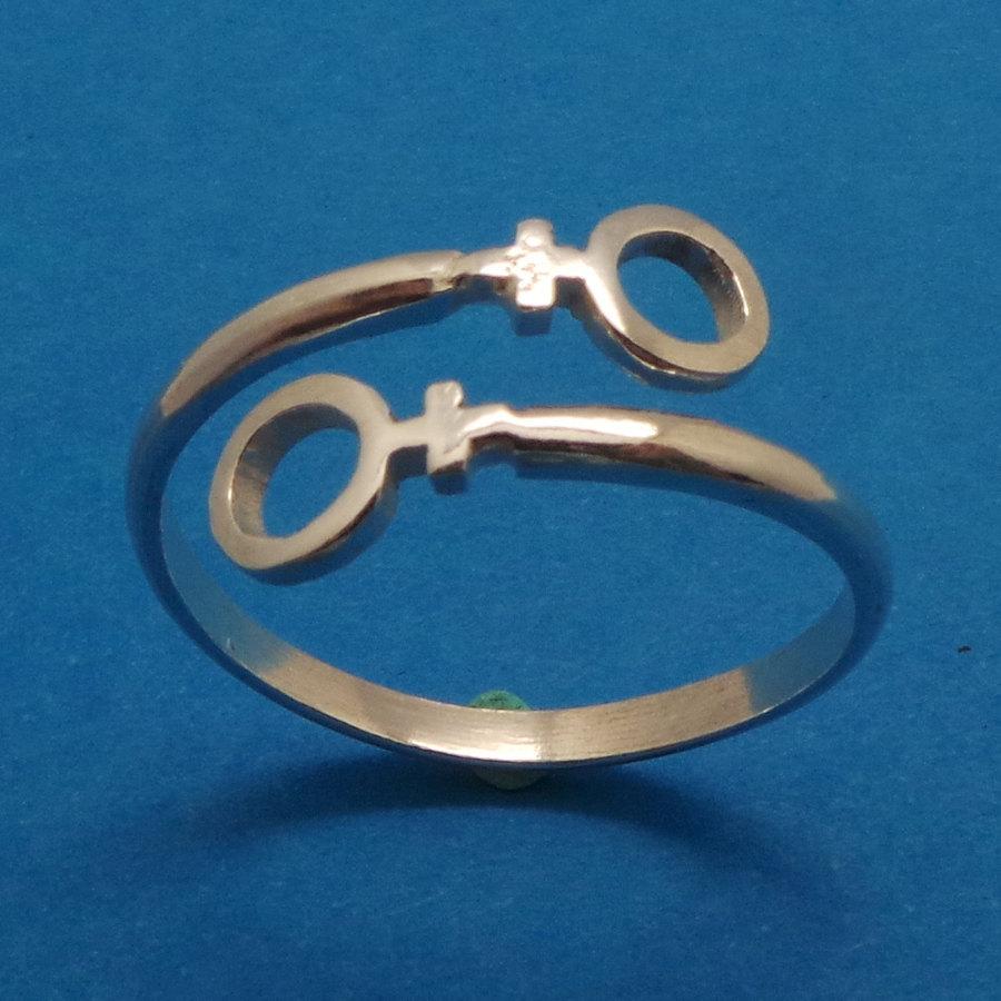 Female Girl Women Lesbian Pride Wrap Silver Ring
