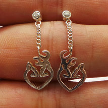 Deer Antler Heart Ear Stud Silver Earring with Czs birthstones - Christm... - $49.00